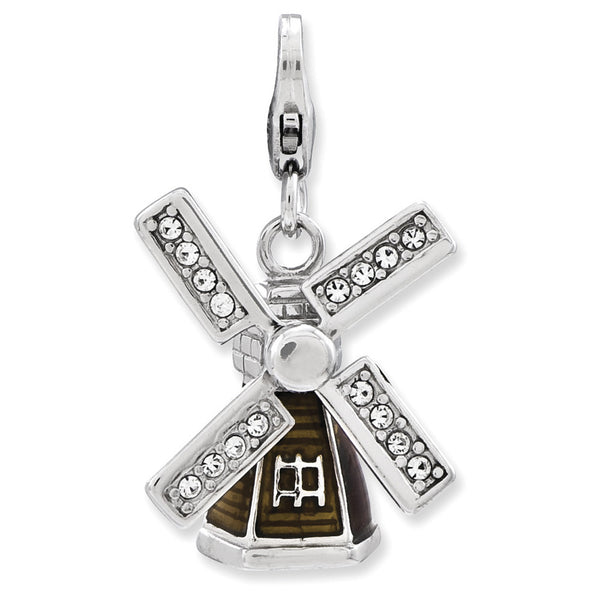 925 Silver 3D Windmill Dangle Charm Created with Swarovski Crystals