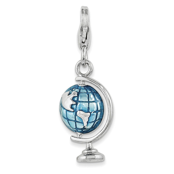 925 Sterling Silver 3D Blue Enameled Grid Globe Dangle Charm