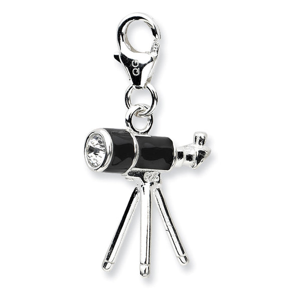 925 Sterling Silver 3D Telescope Charm Created with Swarovski Crystals