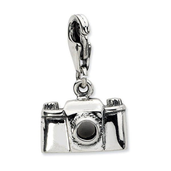 925 Sterling Silver Antiqued Vintage Camera Dangle Charm