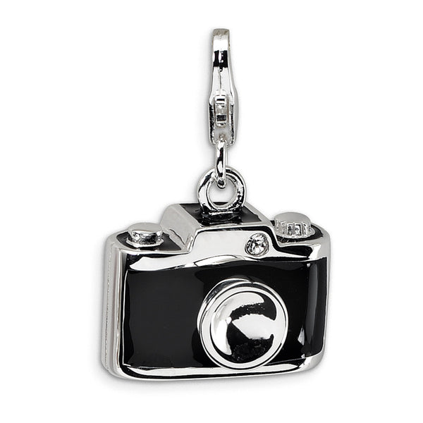 925 Silver 3D Enameled Camera Charm Created with Swarovski Crystals