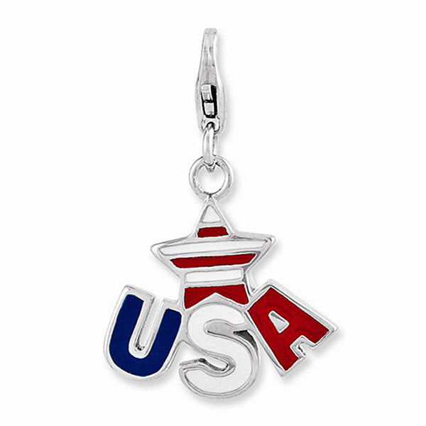 925 Sterling Silver Enameled USA Independence Star Dangle Charm