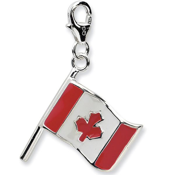 925 Sterling Silver 3D Enameled Reversible Canada Flag Dangle Charm