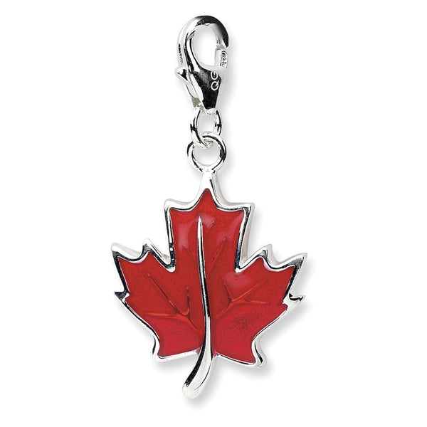 925 Sterling Silver 3D Red Enameled Canadian Maple Leaf Dangle Charm