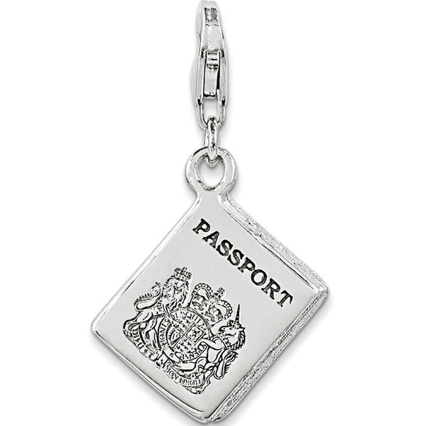 925 Sterling Silver 3D Polished British Passport Dangle Charm
