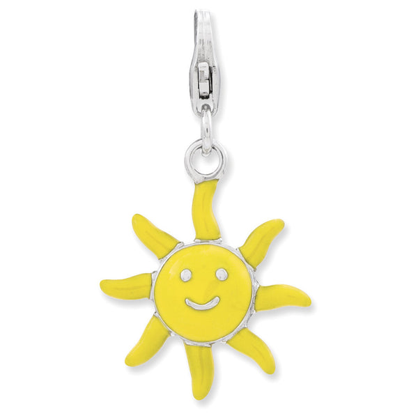 925 Sterling Silver 3D Yellow Enameled Smiling Sun Dangle Charm