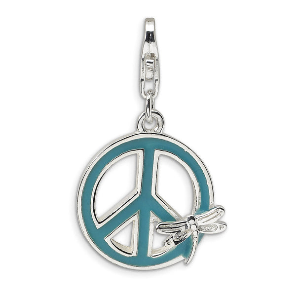925 Sterling Silver Enameled Dragonfly Peace Symbol Dangle Charm