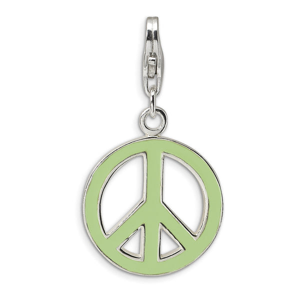925 Sterling Silver Enameled Lime Green Peace Symbol Dangle Charm