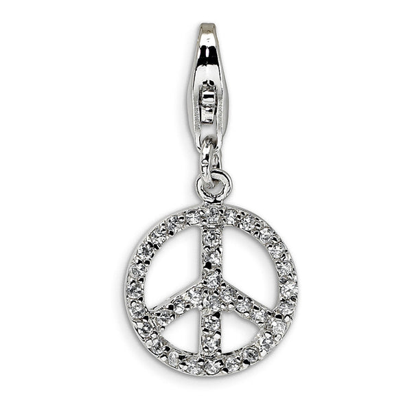 925 Sterling Silver Miniature Cubic Zirconia Peace Symbol Dangle Charm