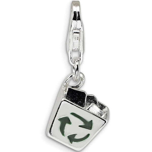 925 Sterling Silver 3-D Enameled Recycle Bin Dangle Charm