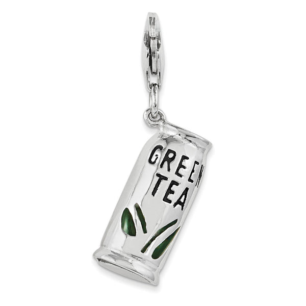 925 Sterling Silver 3-D Enameled Refreshing Green Tea Dangle Charm