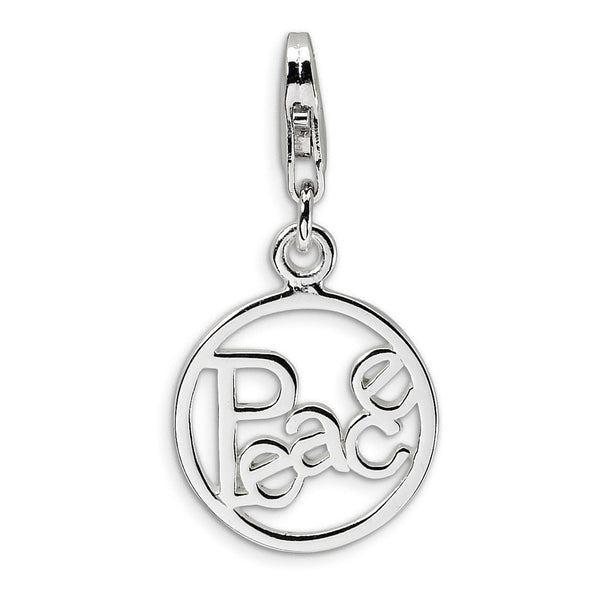 925 Sterling Silver Open Message of Peace Medallion Dangle Charm