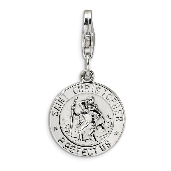 925 Sterling Silver Round St Christopher Protect Us Dangle Charm