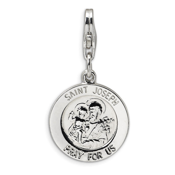 925 Sterling Silver St Joseph the Worker Pray For Us Dangle Charm