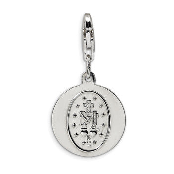 925 Sterling Silver Holy Mary Mother of God Dangle Charm