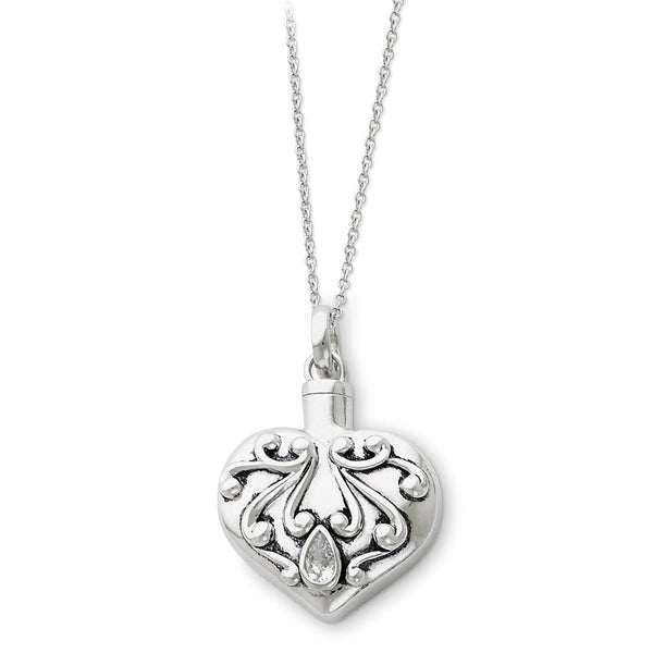 Sterling Silver Heart Ash Holder Sentimental Expressions Necklace