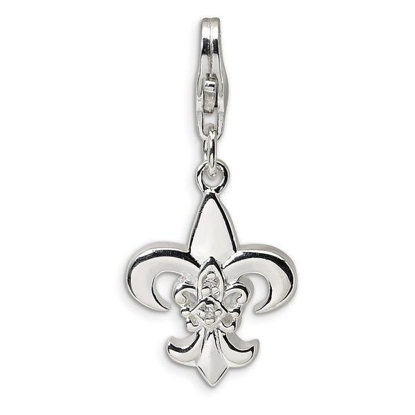 925 Sterling Silver Prong Set CZ Fleur de Lis Dangle Charm