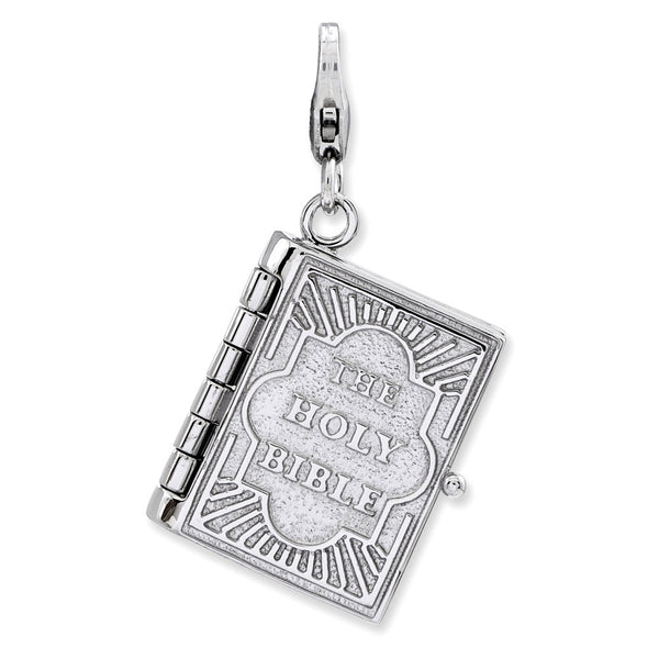 925 Sterling Silver 3D Hinged Opening Holy Bible Dangle Charm
