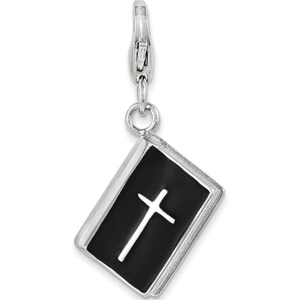 925 Sterling Silver 3D Black Enameled Holy Bible Dangle Charm