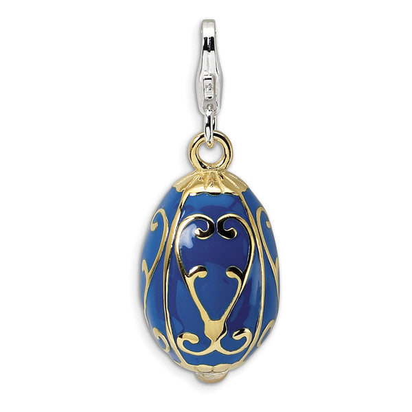 925 Sterling Silver 3D Enameled Gold Plated Scroll Egg Dangle Charm