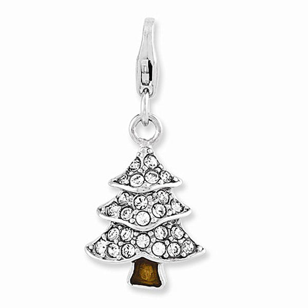 925 Enameled Christmas Tree Charm Created with Swarovski Crystals