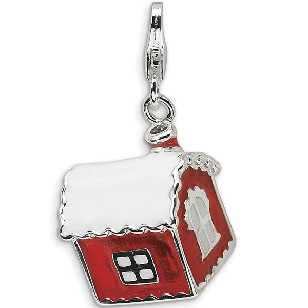 925 Sterling Silver 3D Red Enameled Christmas Cabin Dangle Charm