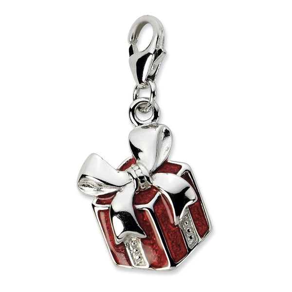 925 Sterling Silver 3D Enameled Red Wrapped Christmas Present Charm