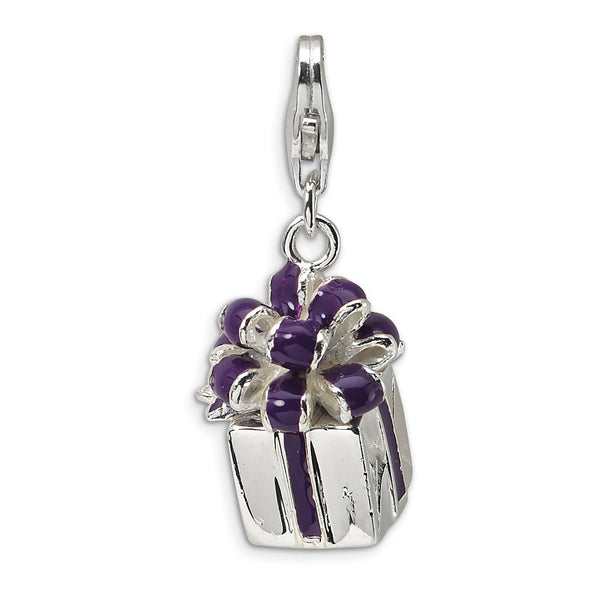 925 Sterling Silver 3D Enameled Purple Ribbon Christmas Present Charm