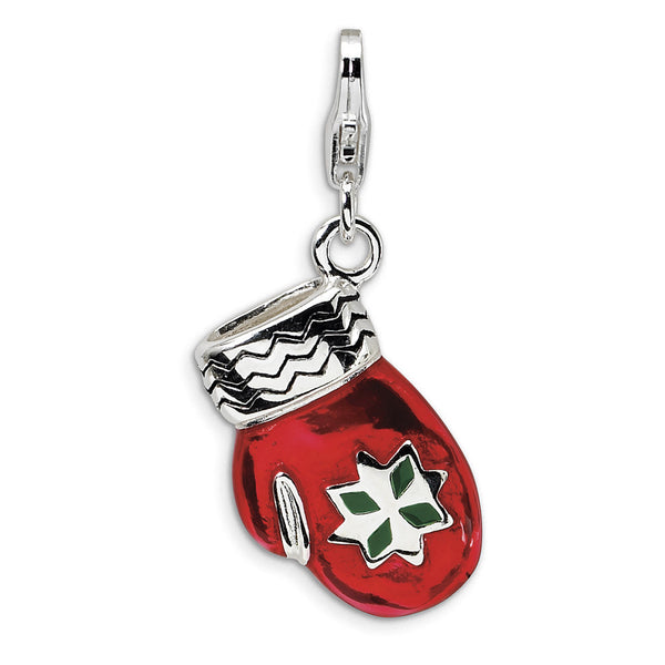 925 Sterling Silver 3D Red Enameled Winter Mitten Dangle Charm
