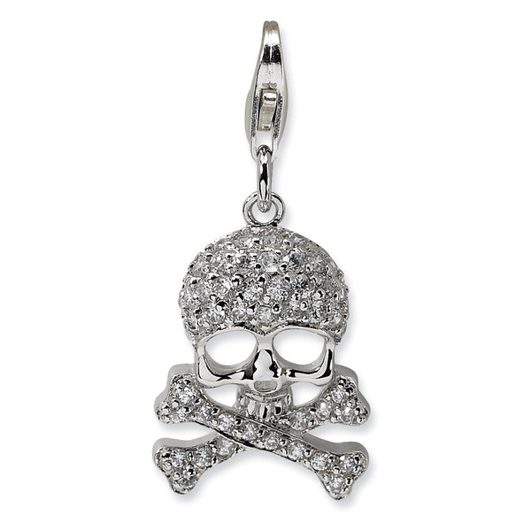 925 Sterling Silver 3D Sparkling CZ Skull and Crossbone Dangle Charm