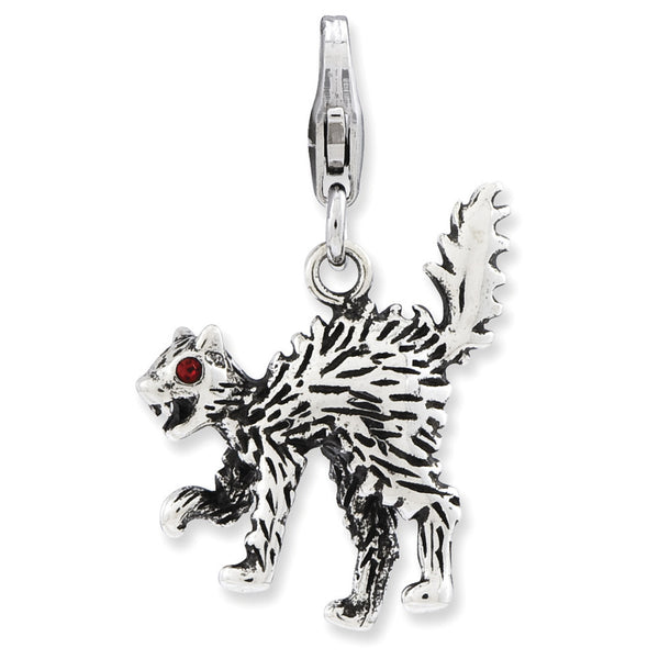 925 Silver 3D Screeching Cat Charm Created with Swarovski Crystals