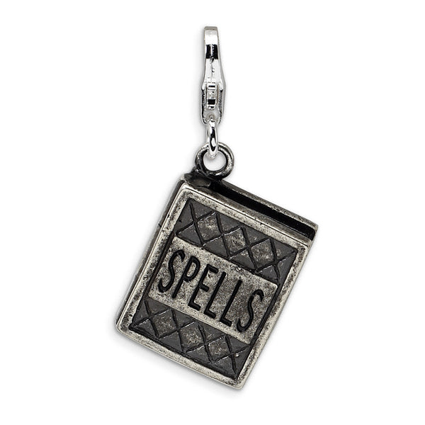 925 Sterling Silver 3D Antiqued Moveable Book of Spells Dangle Charm