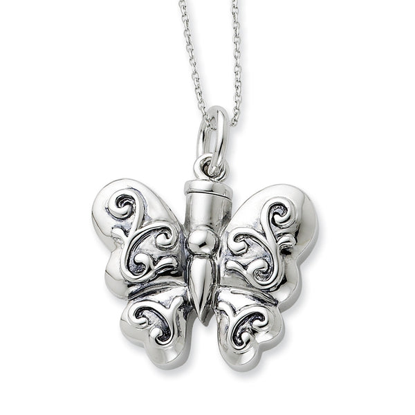Sterling Silver Butterfly Ash Holder Sentimental Expressions Necklace