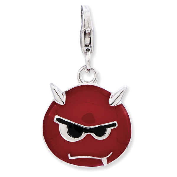 925 Sterling Silver Red Enameled Scowling Devil Dangle Charm