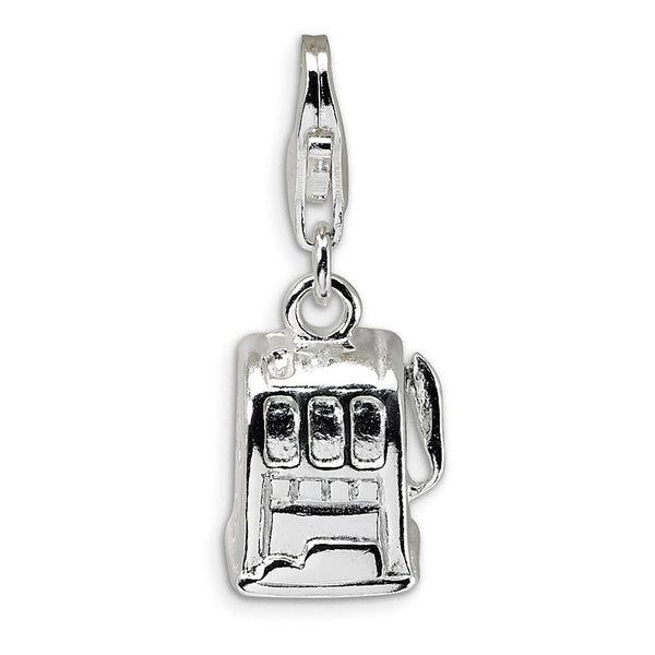 925 Sterling Silver 3D Polished Casino Slot Machine Dangle Charm