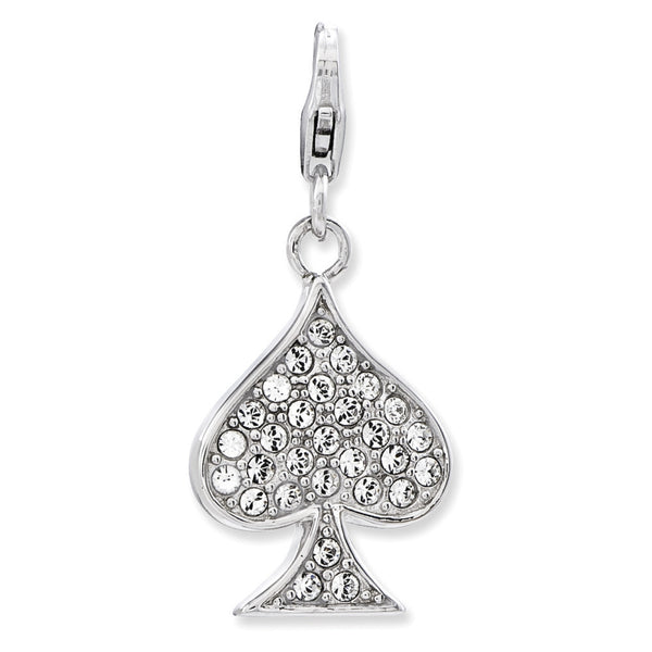925 Sparkling Spade Dangle Charm Created with Swarovski Crystals