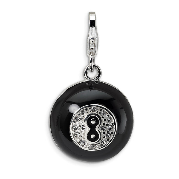 925 3D Enamel Magic 8 Ball Charm Created with Swarovski Crystals