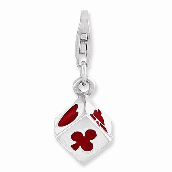 925 Sterling Silver 3D Red Enamel Lucky Symbols Die Dangle Charm