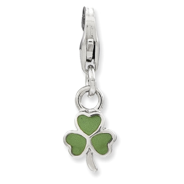 925 Sterling Silver Enameled Miniature Lucky Clover Dangle Charm