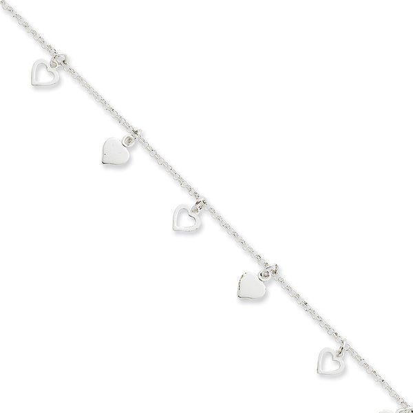 925 Sterling Silver Rolo Chain Parade of Hearts Dangle Ankle Bracelet