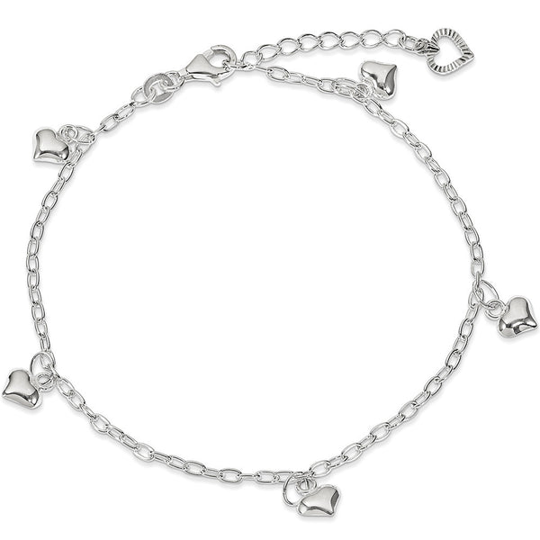 925 Sterling Silver Rolo Chain Puffed Heart Charm Ankle Bracelet