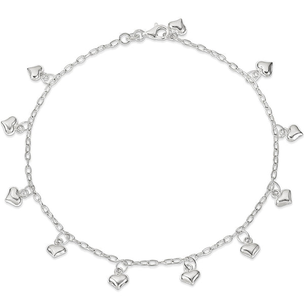 925 Sterling Silver Display of Love Heart Charm Ankle Bracelet