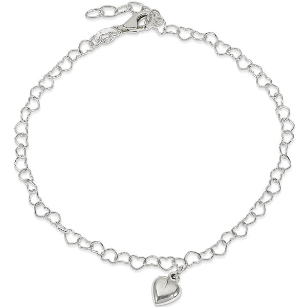 925 Sterling Silver Endless Love 3D Heart Dangle Charm Ankle Bracelet