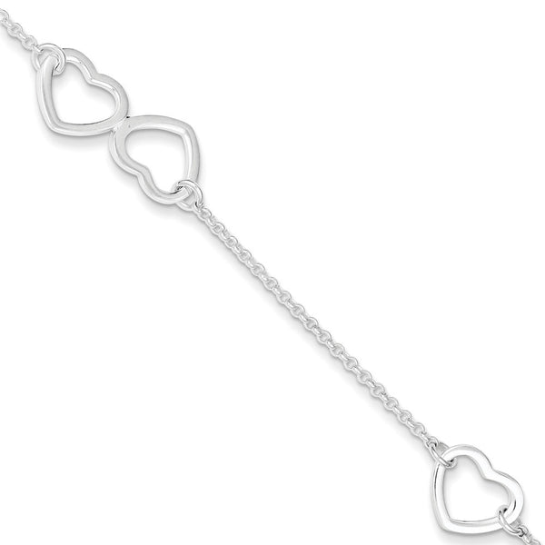 925 Sterling Silver Large Hollow Heart Charm Ankle Bracelet