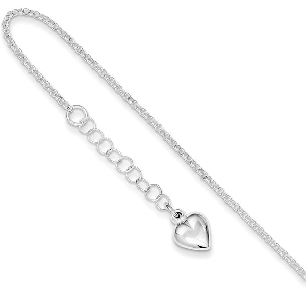 925 Sterling Silver Cable Chain Reflecting Heart Charm Ankle Bracelet