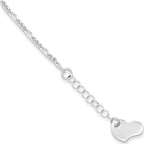 925 Sterling Silver Figaro Chain Dripping Heart Charm Ankle Bracelet