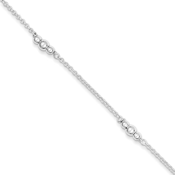 925 Sterling Silver Cable Chain Triple Bead Charm Ankle Bracelet