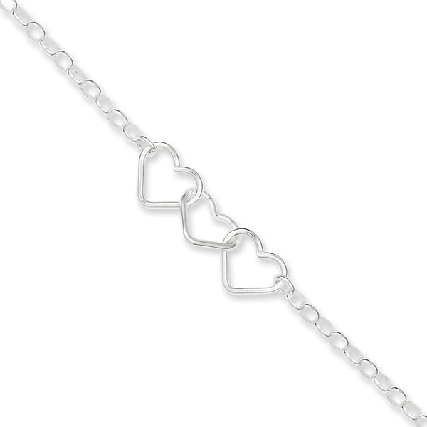 925 Sterling Silver Entwined Heart Trio Ankle Bracelet