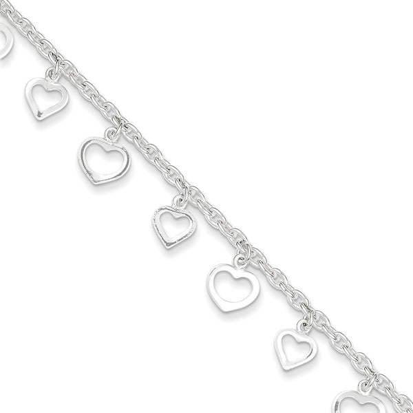 925 Sterling Silver Breezy Love Heart Dangle Ankle Bracelet