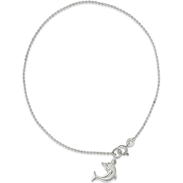 925 Sterling Silver Ball Chain with Dolphin Dangle Ankle Bracelet